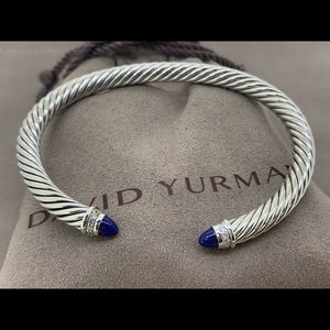 David Yurman 5mm Cable Bracelet Lapis and Diamonds